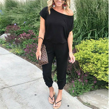 Off Shoulder Lace-up Pockets Sexy Jumpsuit Women Short Sleeve One Piece Outfit Streetwear R