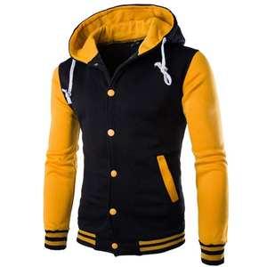 Varsity Jacket Fleece Coat Baseball Autumn Winter Casual Fashion Men Warm Long-Sleeve