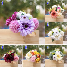 Gerbera Hydrangea Bunch Artificial Flower Fake Hydrangea Artificial Flower Decoration Home Wedding Table BJStore(China)