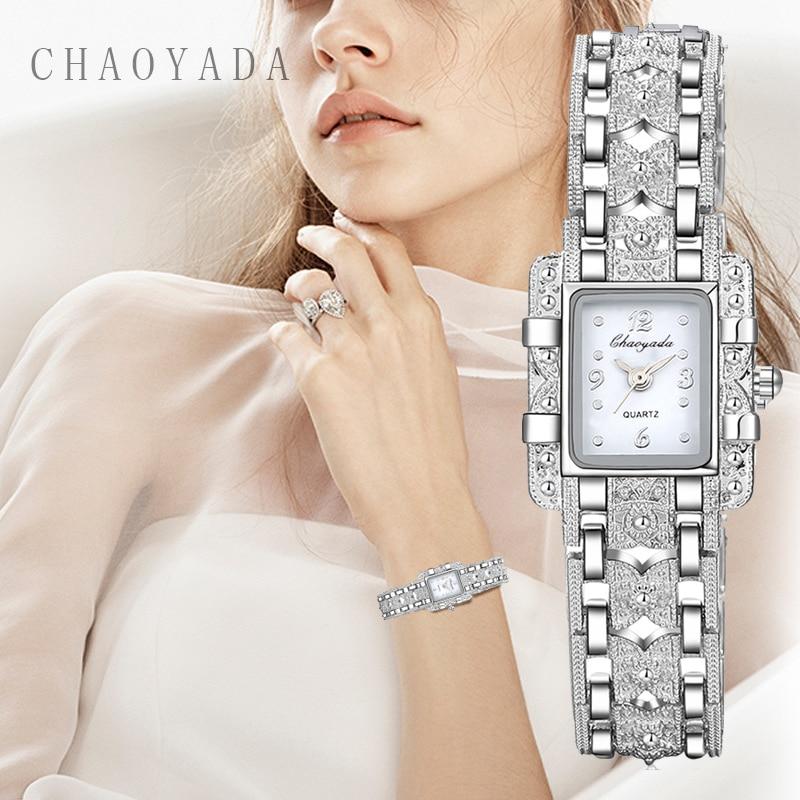 Vintage Watch Women Royal Fashion Square Dial Silver Casual Watches Bracelet Rhinestone Ladies Clock Reloj Mujer Zegarek Damski