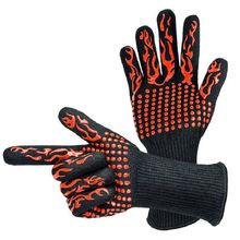 Oven-Gloves Barbecue Heat-Resistant Silicone Mittens Baking Kitchen Thick 1-Pair Dish
