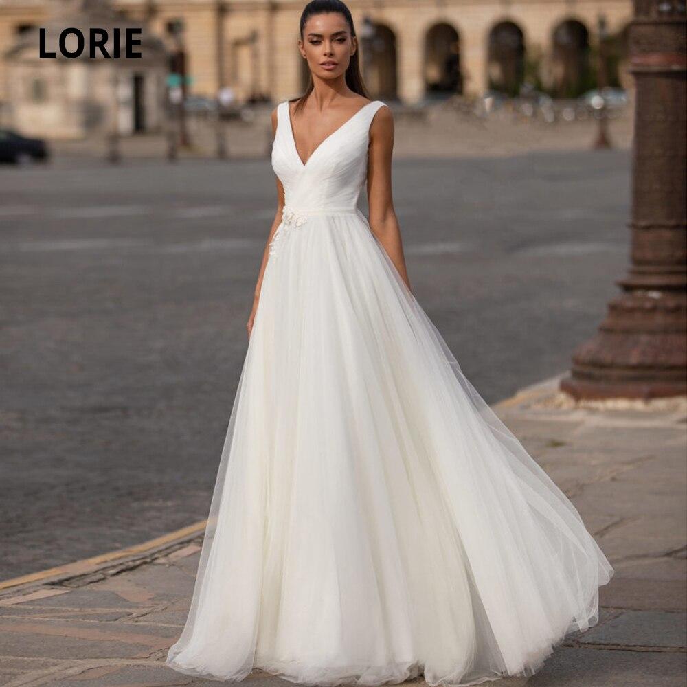 LORIE 2020 Simple Boho Wedding Dresses Lace Appliques Tulle V-Neck A-line Lacing Bohemia Beach Bridal Gowns Vestidos De Novia