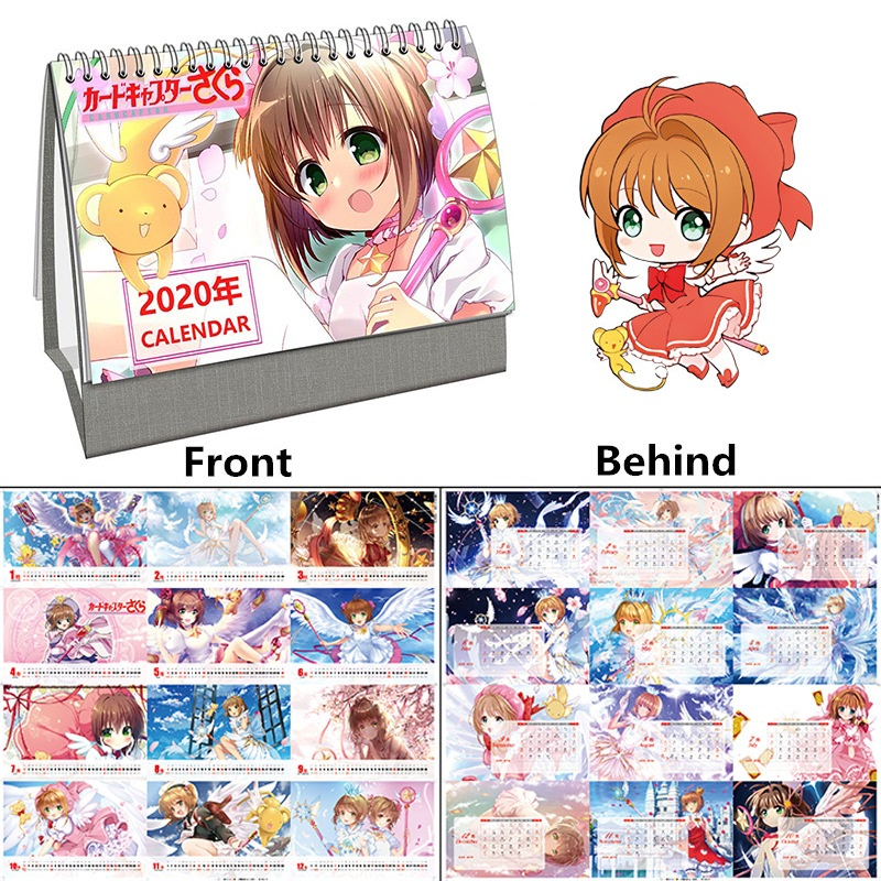 2020 Year Anime Card Captor Sakura Desktop Calendar Sakura Kinomoto Cartoon Character Calendars 2020.01~2020.12