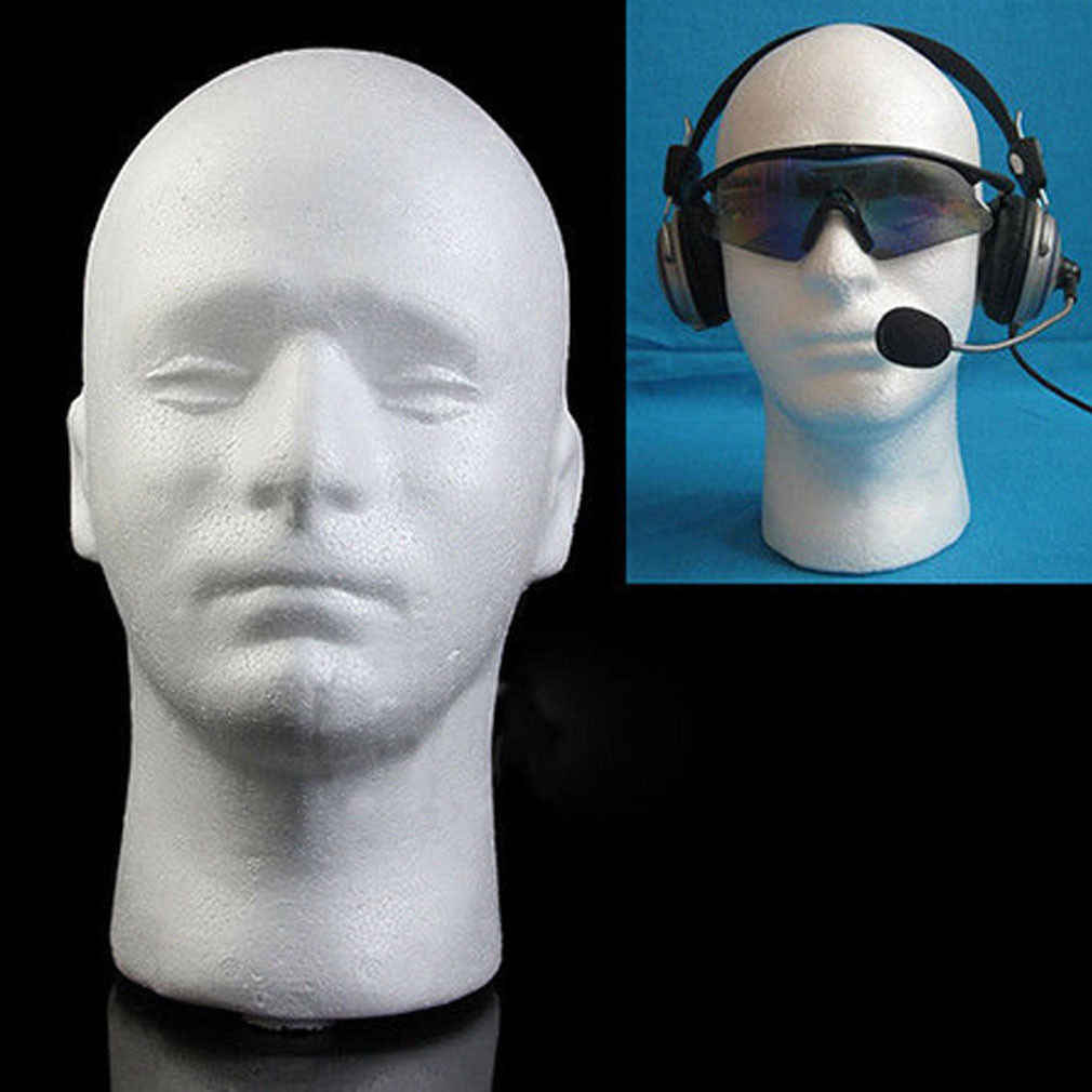 Male Mannequin Head White Polystyrene Styrofoam Foam Head Model Stand Wig Hair Hat Headset Display Stand Rack