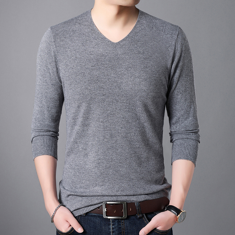 High Quality Autumn Mens Sweater Fashion V Collar Youth Man Sweater Jumper