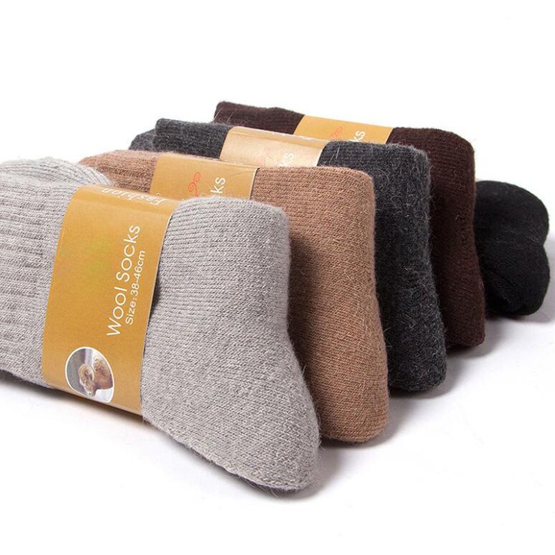 Winter Thicken Men's Socks  Warm Wool Socks Man Plus Velvet Long Crew Socks Calcetines Meias
