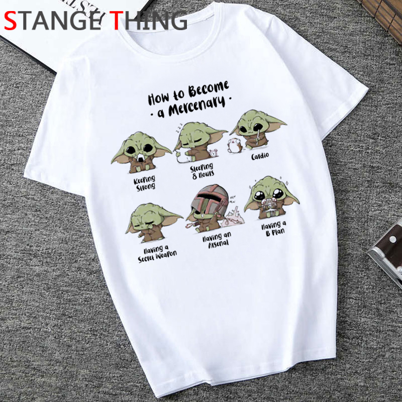 The Mandalorian Funny Cartoon T Shirt Men Baby Yoda Kawaii Graphic T-shirt Hip Hop Unisex Casual Tshirt Streetwear Top Tees Male