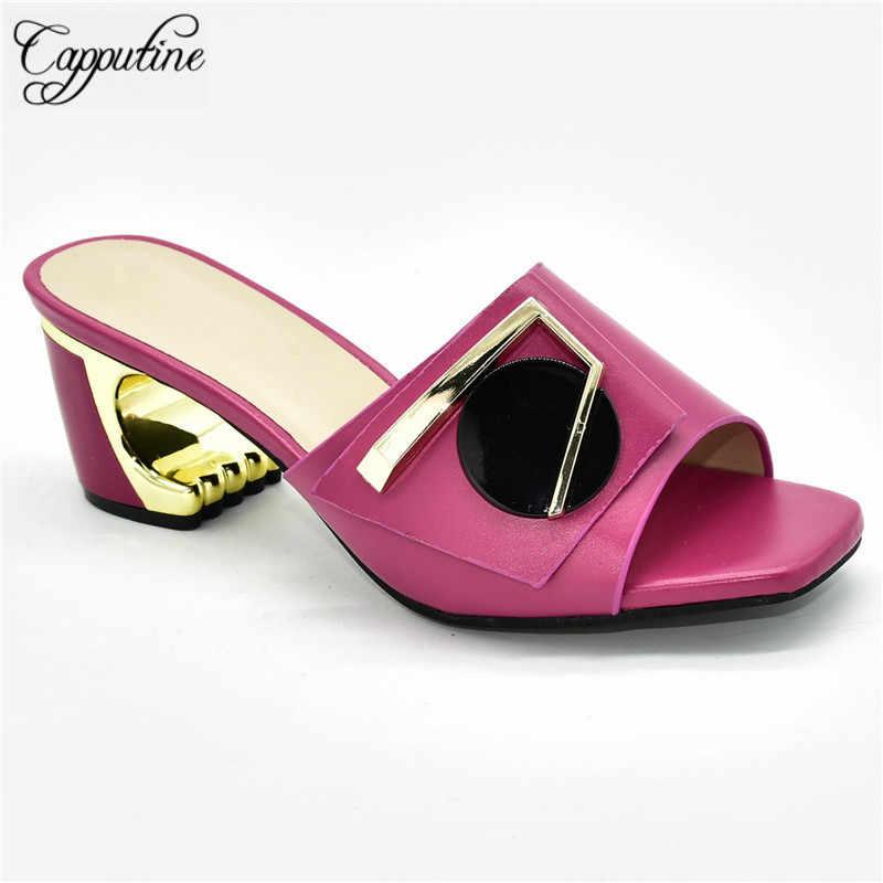 Popüler fuşya afrika yüksek topuk pompa ayakkabı bayan için 88-10 topuk yüksekliği 7CM