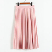 Midi Skirt Spring QRWR Pink Black High-Waist Fashion Solid Summer Pleated Elastic Half-Length