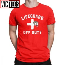 Men T-Shirt Off Duty Sloth Napping Lifeguard Humor Cotton Red Lifeguarding Uniform T Shirt Camisas Hombre Oversized(China)