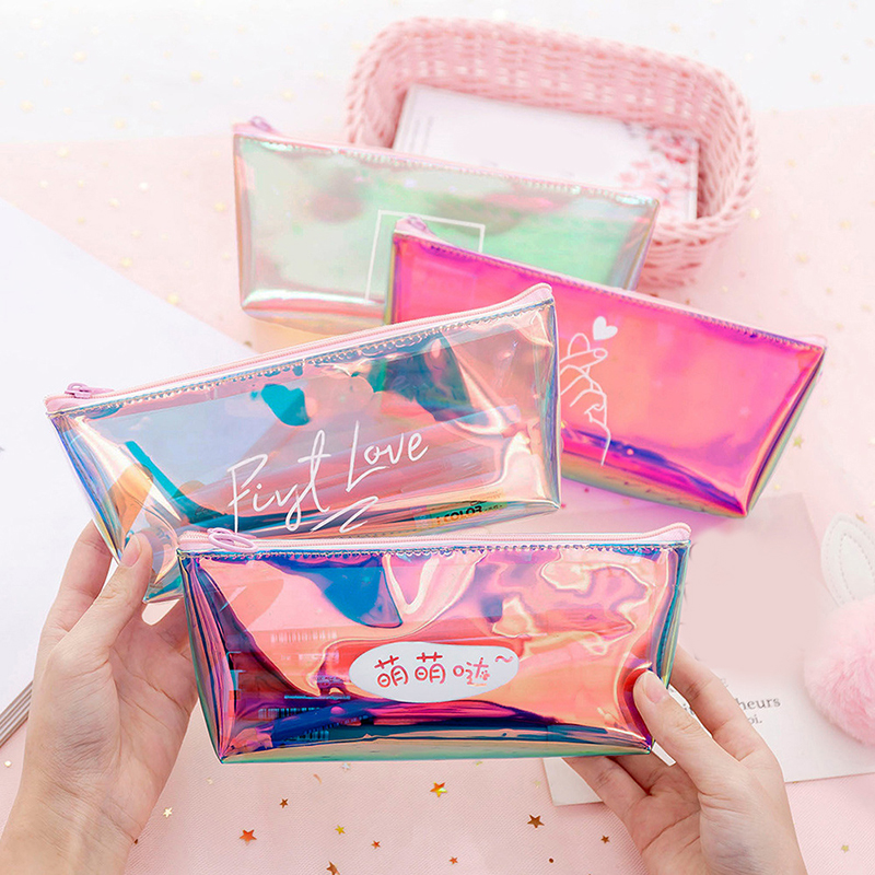 Fashion Waterproof Laser Cosmetic Bags Women Neceser Make Up Bag PVC Pouch Wash Toiletry Bag Laser Travel Organizer Case