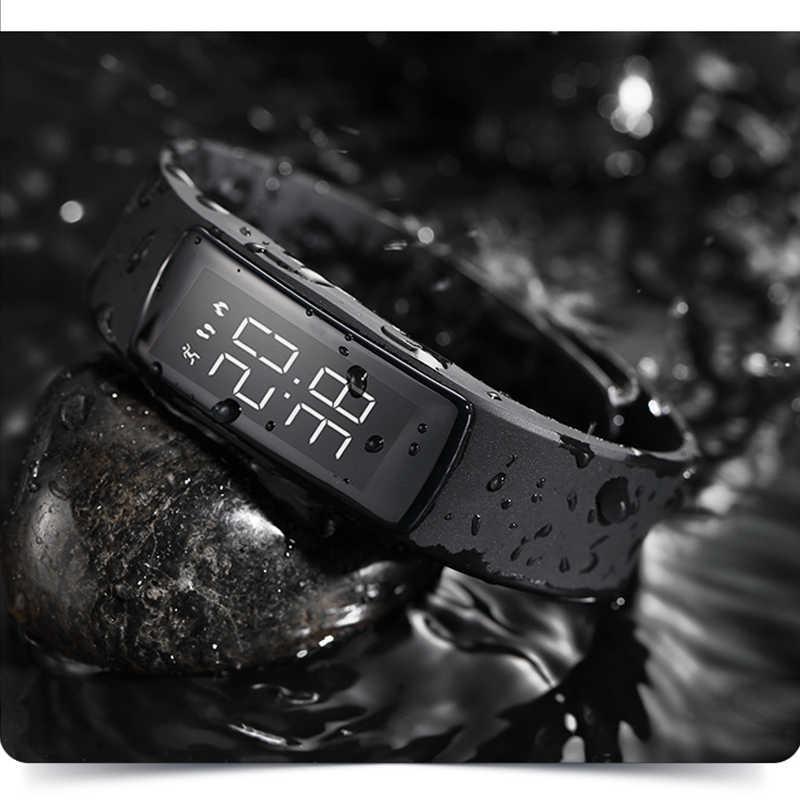 הכי חדש אופנה הסוואה ספורט שעון דיגיטלי שעון עמיד למים נשים חשמלי שעונים טעינה חכם צמיד שעוני יד + תיבה