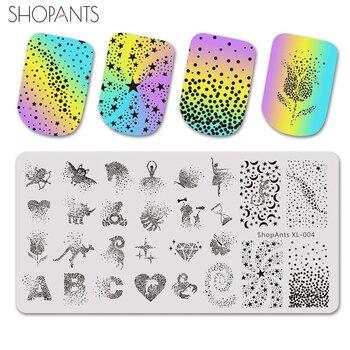 SHOPANTS-placas de estampado para manicura, de acero inoxidable, punto de estrella, palabras...