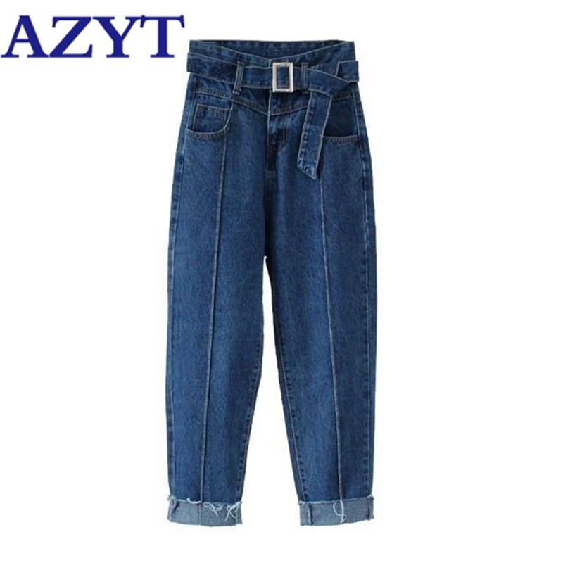 AZYT осенние джинсовые штаны шаровары с высокой талией для женщин 2020 однотонные тонкие женские брюки с поясом повседневные уличные джинсовые брюки для женщин|Брюки |   | АлиЭкспресс