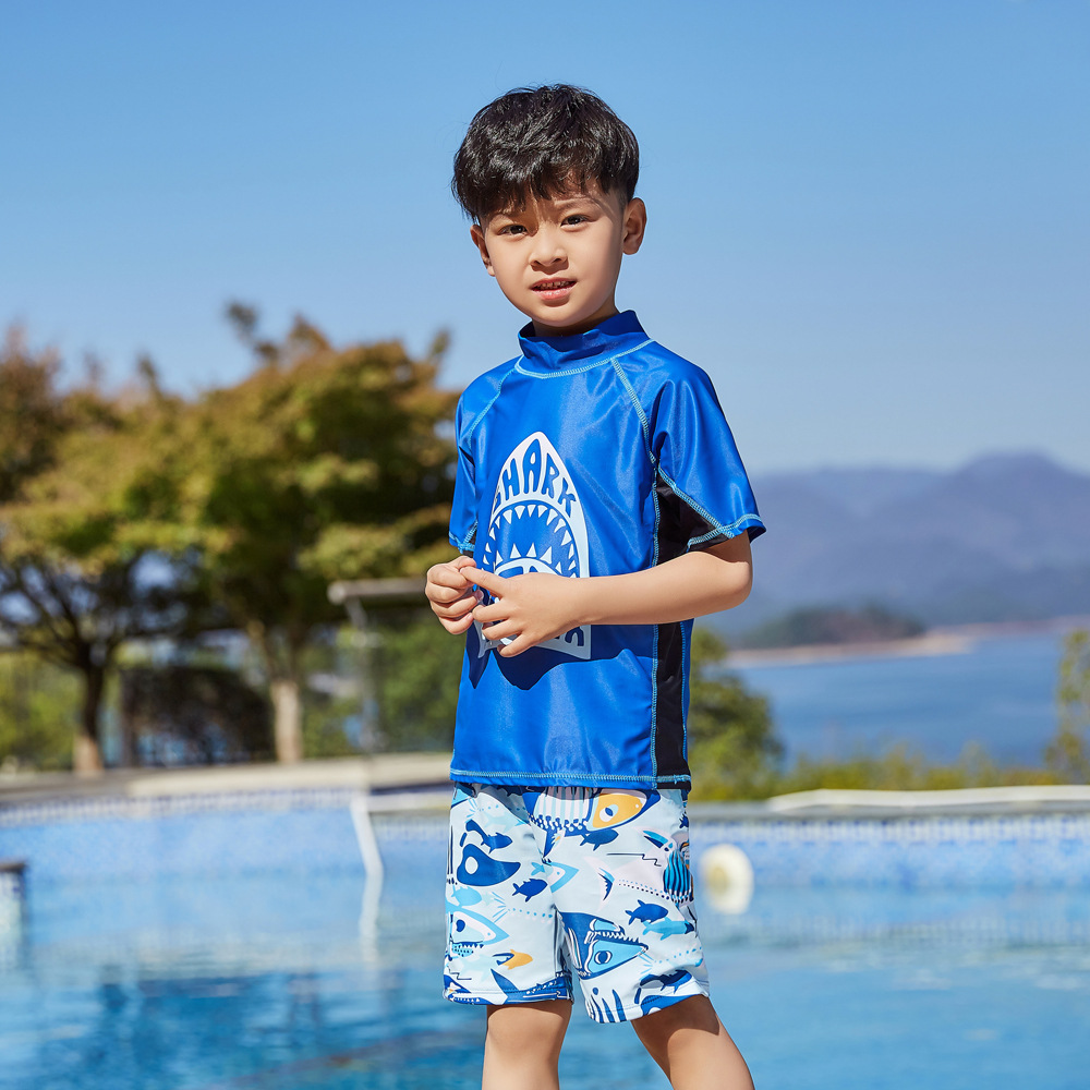 2019 Children Split Type Swimsuit Male Baby Bubble Hot Spring Swimsuit For Boys Handsome Cute Sports Olive Flower 1042