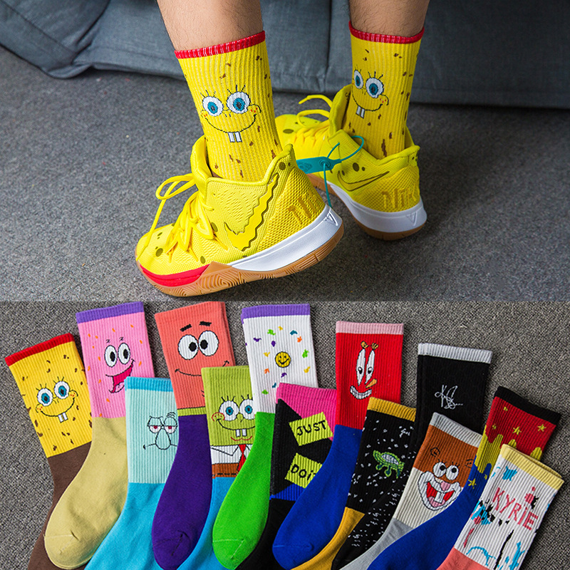 Happy Funny Sock Slippers Men's Socks 2019 Spring And Summer Cartoon Couple Funny New Combed Cotton Cartoon Basketball Socks