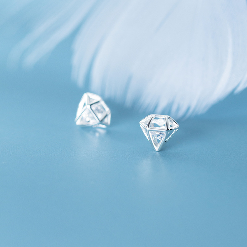 MloveAcc 100% Real 925 Sterling Silver Geometric Hollow Cubic Zirconia Stud Earrings Piercing Ear Jewelry For Fashion Women Girl