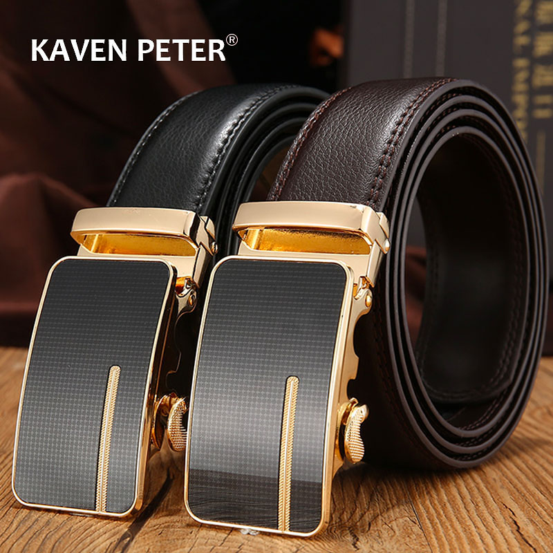 Automatic Buckle Genuine Leather Belt Men's Black Cow Leather Belts For Men Business3.4cm Width Male Designer Automatic Buckle