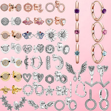 925 Sterling Silver Earrings Sparkling Pink Solitaire Huggie Hoop Earrings Wishbone Heart Stud Earrings Women Jewelry Gift