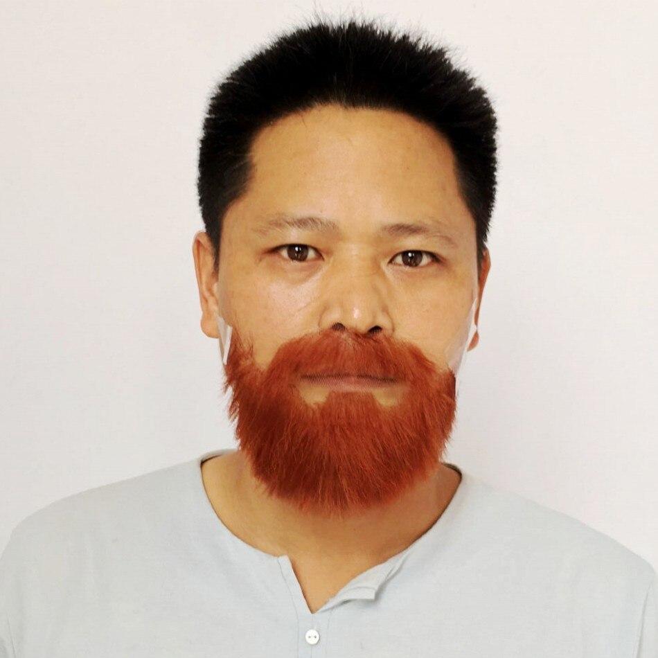 Faux barbes et moustaches FXVIC. Costume réaliste bordeaux rouge barbes 100% cheveux humains livraison gratuite 2019 Top qualité