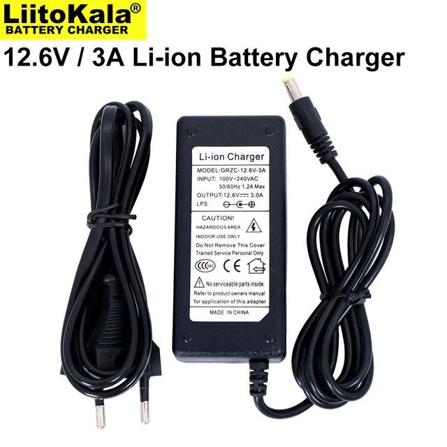 Liitokala 12.6V 3A Lithium Battery Charger 3 series lithium Cbattery 12V battery charger DC 5.5*2.1MM+US EU AC power cord
