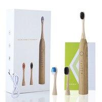 Cepillo de dientes eléctrico de bambú con 5 modos, eliminador de manchas y sarro, para uso doméstico, ULTRASÓNICO, regalo