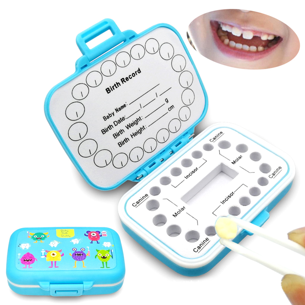 Baby Teeth Keepsake Box Organizer PP Tooth Boxes Kids Tooth Storage Holder Organizer Cute Children Tooth Fetal Hair Container