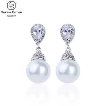 Warme Farben 925 Sliver Women Earrings Made With Swarovski Crystal Elegant Pearl Drop Earrings Fashion Jewelry Wedding Earrings - DISCOUNT ITEM  36% OFF All Category
