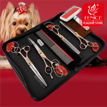 Fenice cão tesoura conjunto reta & diluindo curvo pet grooming tesoura kits bichon teddy bomi cão grooming tesouras conjunto de ferramentas