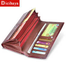 DICIHAYA Trend Wallet Female Women Wallet Long Wallet High Quality Coin Purse Women Button Purse Genuine Leather Zipper Wallets