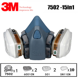 3M 7502 Respirator Mask 15 in 1 Suit Industry Painting Spray Dust Gas Mask With 3M 501 5N11 6001CN Chemcial Half face Mask