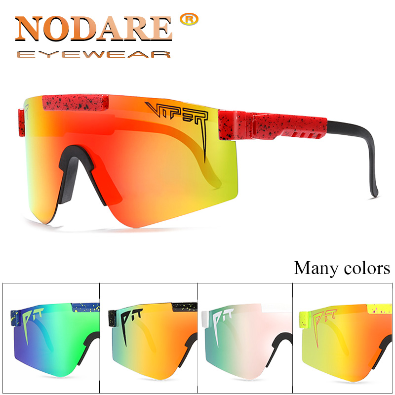 New Oversized Sunglasses Polarized Mirrored RED Lens Tr90 Frame Uv400 Protection Men Sport Pit Viper High Quality UV400