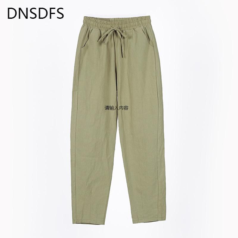 Women's Pants 2021 Spring New Cotton Trousers Casual Harem Pants Loose Ankle Length Pure Color Pants Korean Ladies Leisure Pant