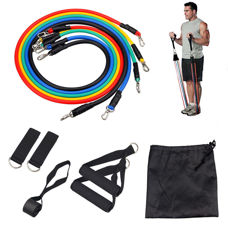 11pcs/set Resistance Bands Set Pull Rope with Door Anchor Handles Ankle Straps Fitness Workout Yoga Bands Strength Training(China)