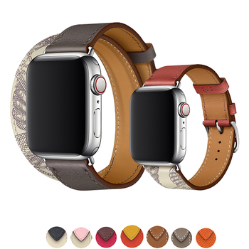 цена на Double Tour strap for apple watch band 42mm 38mm apple watch 5 4 44mm 40mm iwatch 3/2/1 bracelet Genuine Swift leather watchband