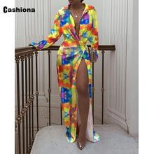 Cashiona 2021 Autumn Long Maxi Dress Women Long Sleeve Fashion Tie Dry Dresses Plus Size Femme High Split Bandage Skirt Dress