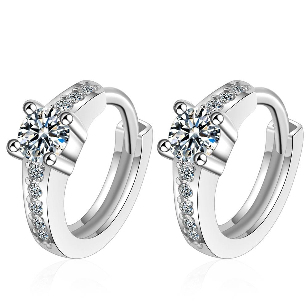 Charming Pendientes 925 Sterling Silver Zircon Love Flower Mosaic CZ Stud Earrings For Women Girl Gift Jewelry Oorbellen