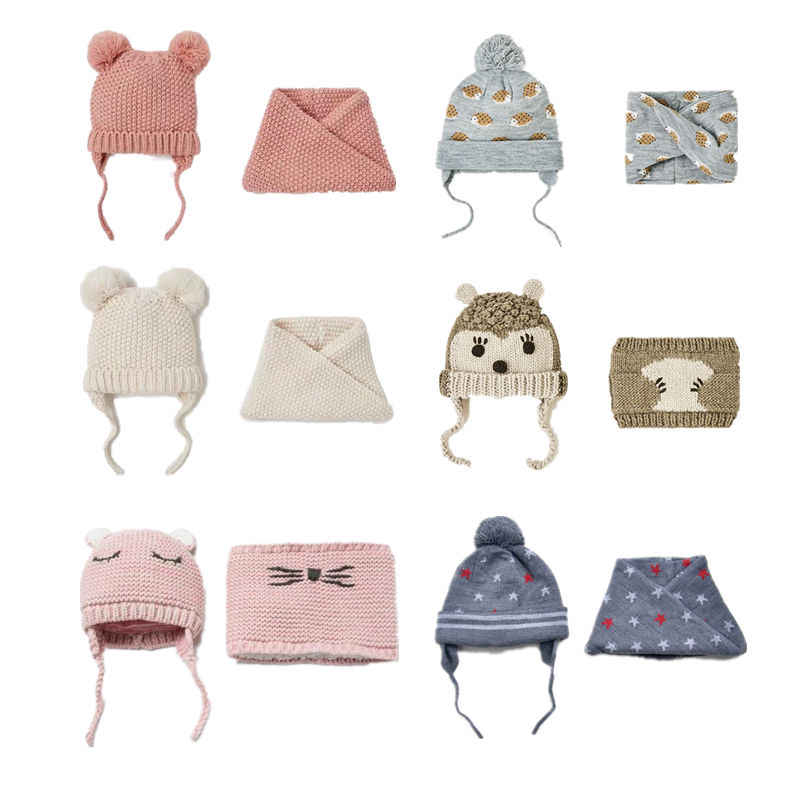 Cute Baby Hat Children's Hat & Scarf 2pcs/lot Baby Girl Hat Winter Double Layer Knit Warm caps Autumn Hats For Kids