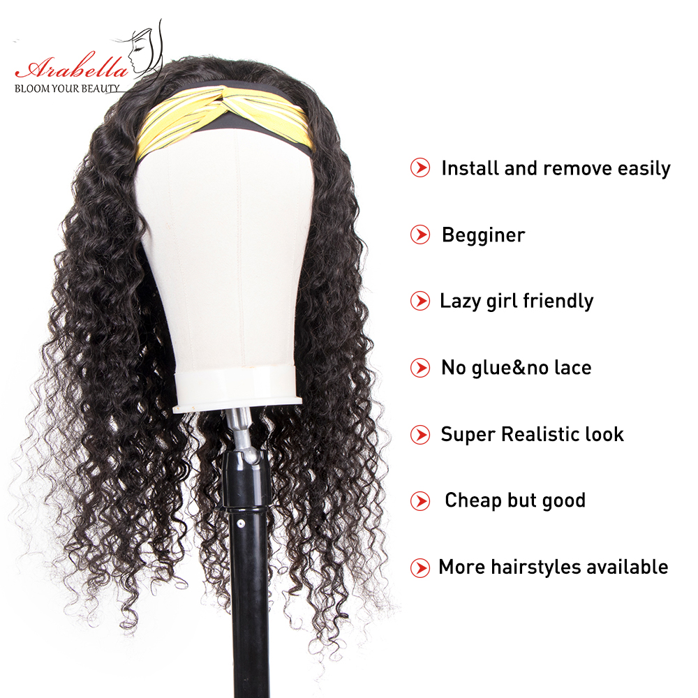 Deep Wave  Wigs With Headband  Hair Full Machine Made Wig  Arabella Hair Glueless Wig 2