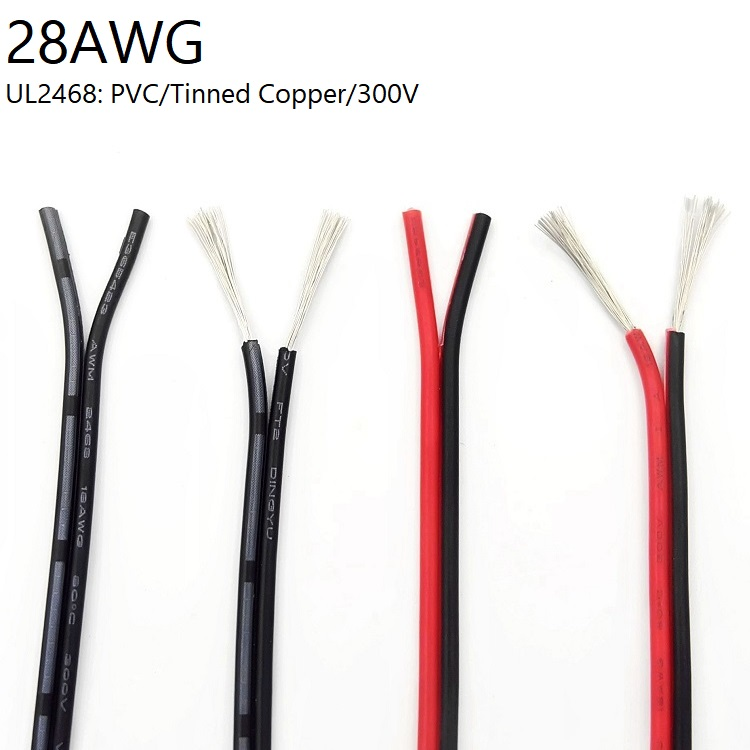 1M 2 Pin Electric Copper Wire <font><b>28AWG</b></font> Lamp Lighting <font><b>Cable</b></font> PVC Insulated Double Cords Extend Connect Line White Black Red UL2468 image