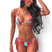 Print Sexy Bikini 2020 Swimwear Women Swimsuit Push Up Swimming Suit String Biquini Femme Ruffle Bikinis Set Lace Up Beachwear