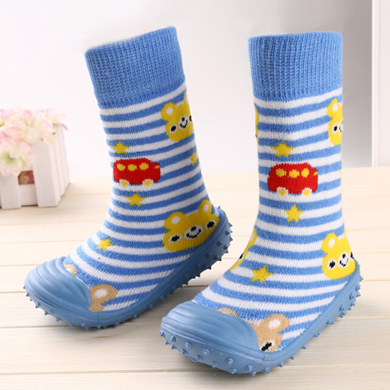 Newborn Anti Slip Baby Socks With Rubber Soles For Children Toddler Shoes First Walkers Cotton Baby Boy Girl Socks