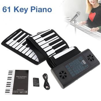61 Keys MIDI Roll Up Electronic Piano Rechargeable Silicone Keyboard Organ Built-in 2 Speakers Support Audio Bluetooth Function