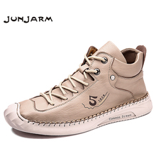 Sneakers Men Footwear Ankle-Boots Casual Fashion JUNJARM Brand Rubber Plus-Size 39-48