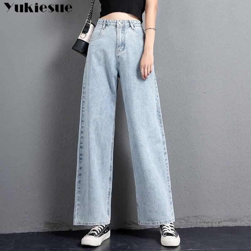 High Waist Jeans Woman Mom Boyfriend Ripped Jeans For Women Plus Size Denim Wide Leg Jeans Streetwear Womens 2019 Plus Size