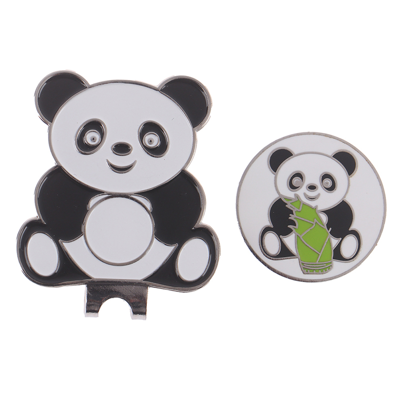 1pc Panda Metal Golf Ball Mark & Magnetic Hat Clip Golf Marker Training Aids