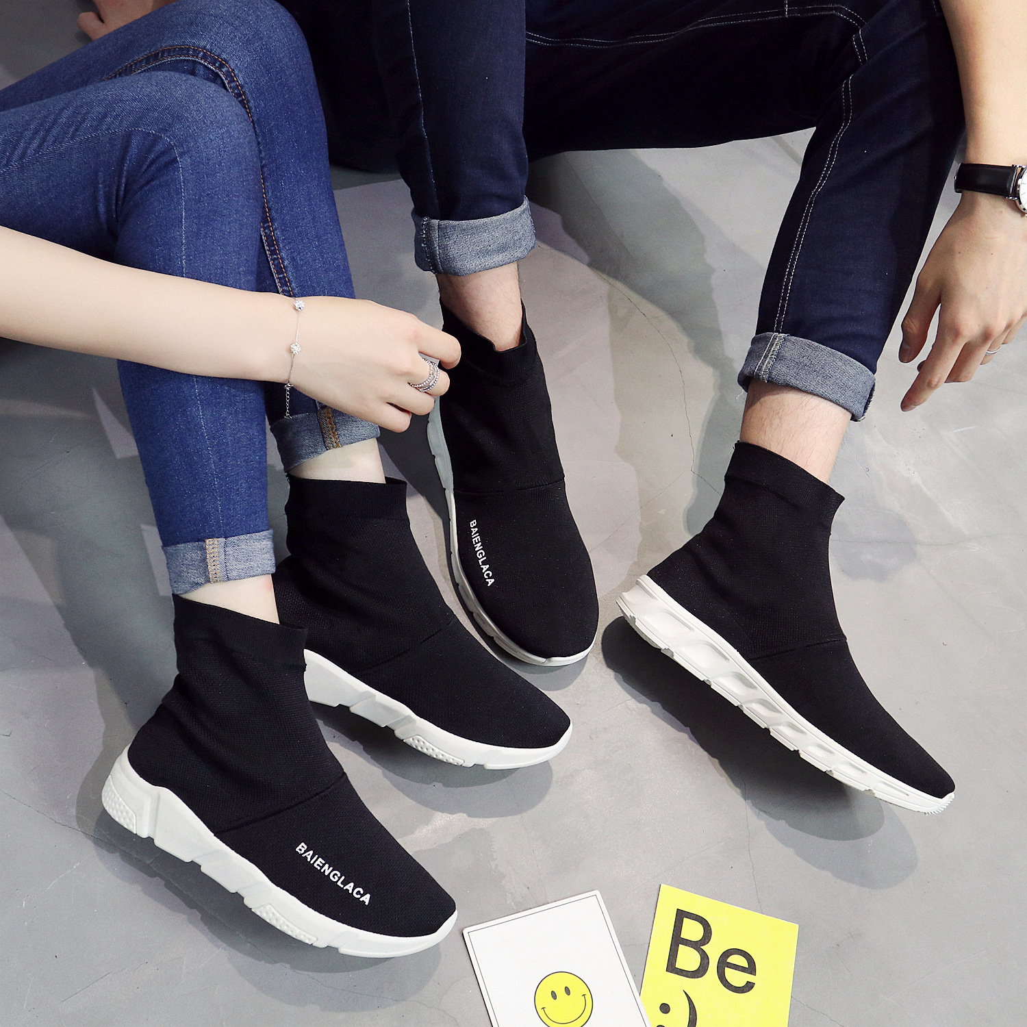 Spring New Socks Shoes Couple Light Fly-woven Single Shoes One-shoe Walking Women Shoes