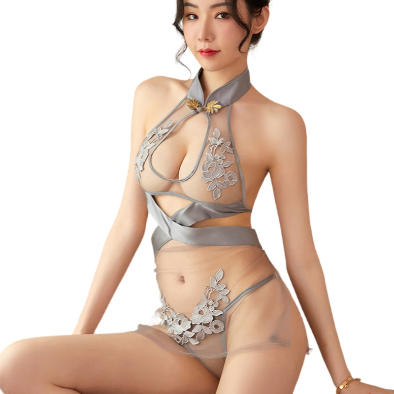 Sexy lingerie halter see-through mesh transparent dress temptation embroidery cheongsam sensual underwear