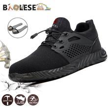 BAOLESEM Men's shoes Male Safety Shoes Work Steel Cap Men's boots Anti-piercing Shoes for Worker Construction Breathable Sneaker
