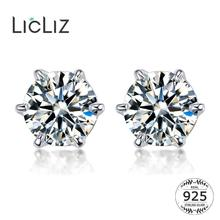 LicLiz 2019 New 925 Sterling Silver Round Zircon Stud Earrings for Women Clear CZ Crystal Jewelry Six Prong Setting Studs LE0515